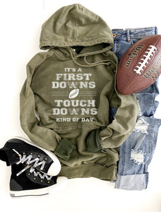 First downs and touchdowns unisex vintage wash hoodie Football hoodie Lane Seven vintage hoodie