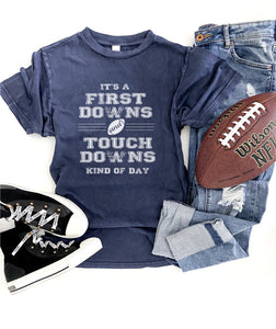 First downs and touchdowns unisex vintage wash tee Short sleeve football tee Lane seven vintage wash tee