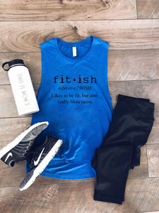 Fit-ish unisex muscle tank Fitness tank Bella canvas unisex muscle tank- royal blue