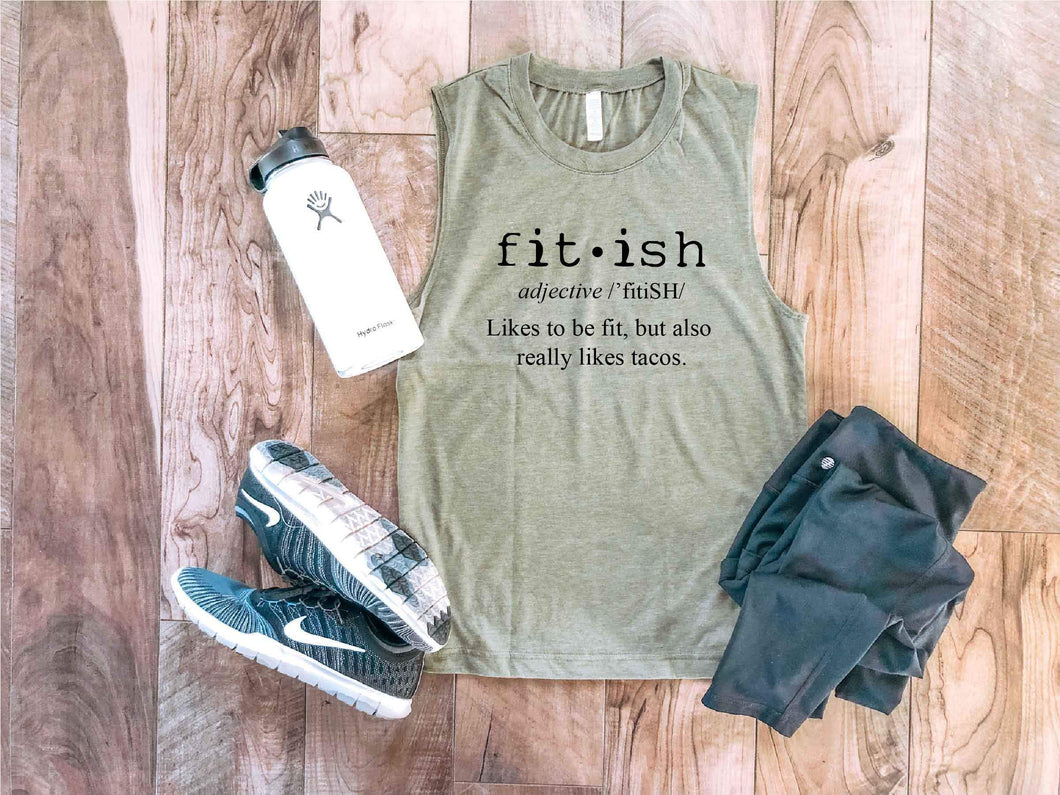 Fit-ish unisex muscle tank Fitness tank Bella canvas unisex muscle tank- royal blue S Heather olive