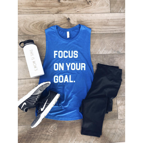 Focus on your goal- unisex muscle tank Fitness tank Bella canvas unisex muscle tank- royal blue