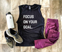 Focus on your goal- unisex muscle tank Fitness tank Bella canvas unisex muscle tank- royal blue S Black