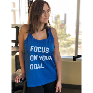 Focus on your goal- women's flowy tank Fitness tank Bella canvas 6488 tank royal blue