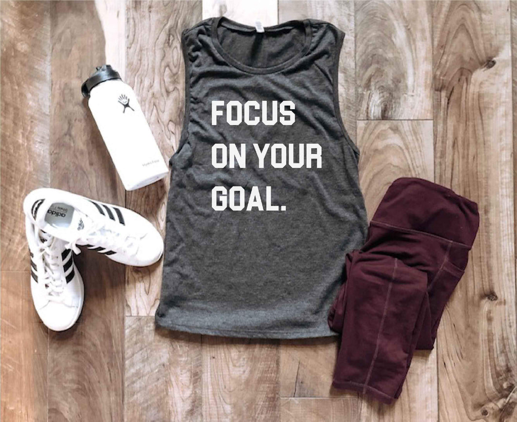 Focus on your goal women's muscle tank Fitness tank Bella canvas 6003 dark heather grey