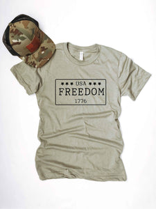 Freedom license plate mens tee Short sleeve patriotic tee Bella canvas 3001 Heather stone