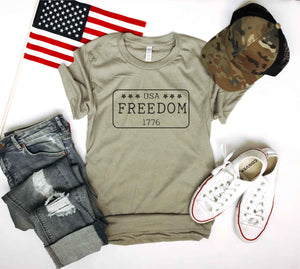 Freedom license plate tee Short sleeve patriotic tee Bella canvas 3001 Heather stone