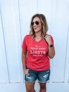 Friday night lights tee Short sleeve football tee Bella canvas and Next Level M Heather red