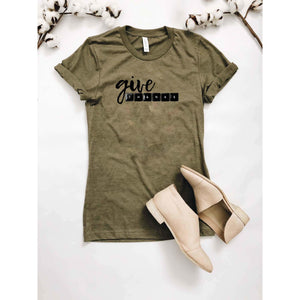 Give Thanks tee Short sleeve fall tee Bella Canvas 3001 heather maroon and Heather olive, next level 6210 warm grey S Heather Olive