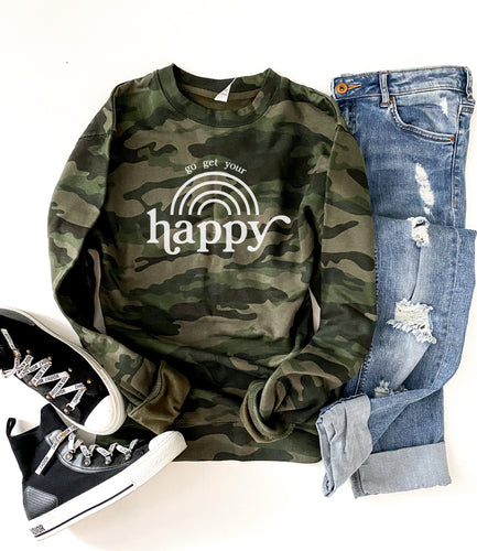Go get your happy camo sweatshirt Fall sweatshirt Independent Trading company lightweight sweatshirt