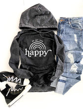 Go get your happy vintage wash hoodie Edgy hoodie Lane Seven vintage hoodie XS Vintage black