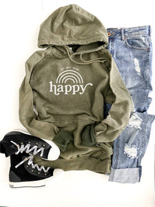 Go get your happy vintage wash hoodie Edgy hoodie Lane Seven vintage hoodie XS Vintage olive
