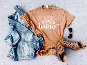Go get your happy vintage wash tee Short sleeve miscellaneous tee Lane 7 15004 Camel