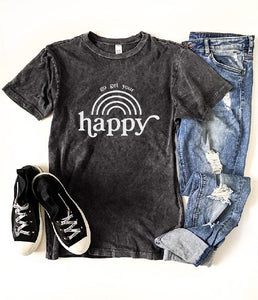 Go get your happy vintage wash tee Short sleeve miscellaneous tee Lane 7 15004 Camel XS Vintage black