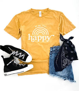 Go get your happy vintage wash tee Short sleeve miscellaneous tee Lane 7 15004 Camel XS Vintage mustard