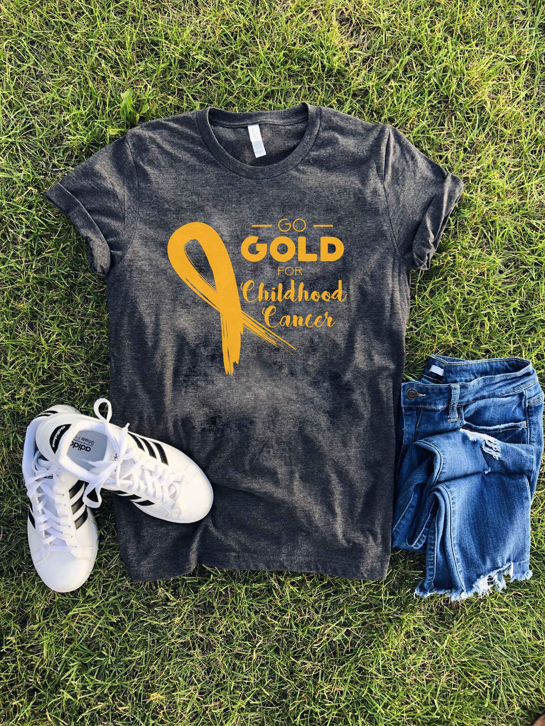 Go Gold for child cancer Child cancer tee Bella Canvas 3001 dark heather grey