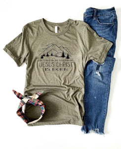Go tell it on the mountain tee Short sleeve holiday tee Bella Canvas 3001 XS Heather olive