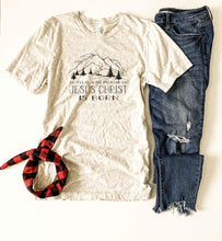 Go tell it on the mountain tee Short sleeve holiday tee Bella Canvas 3001 XS Oatmeal