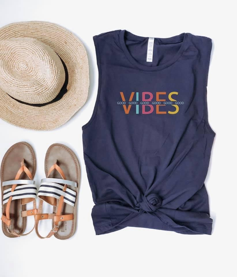 Good vibes unisex muscle tank Short sleeve cinco de mayo tee Bella Canvas unisex muscle tank