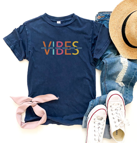 Good vibes vintage wash tee Short sleeve summer tee Lane Seven vintage tee