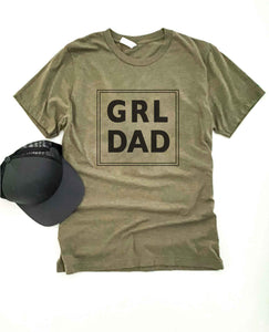 Grl dad tee Short sleeve men's tee Bella Canvas 3001 heather olive