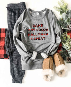 Hallmark repeat french terry raglan sweatshirt Holiday French Terry raglan Cotton heritage and lane seven French Terry raglan XS Heather grey