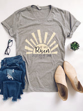 He has Risen Short sleeve Easter tee Next Level 6240 heather grey