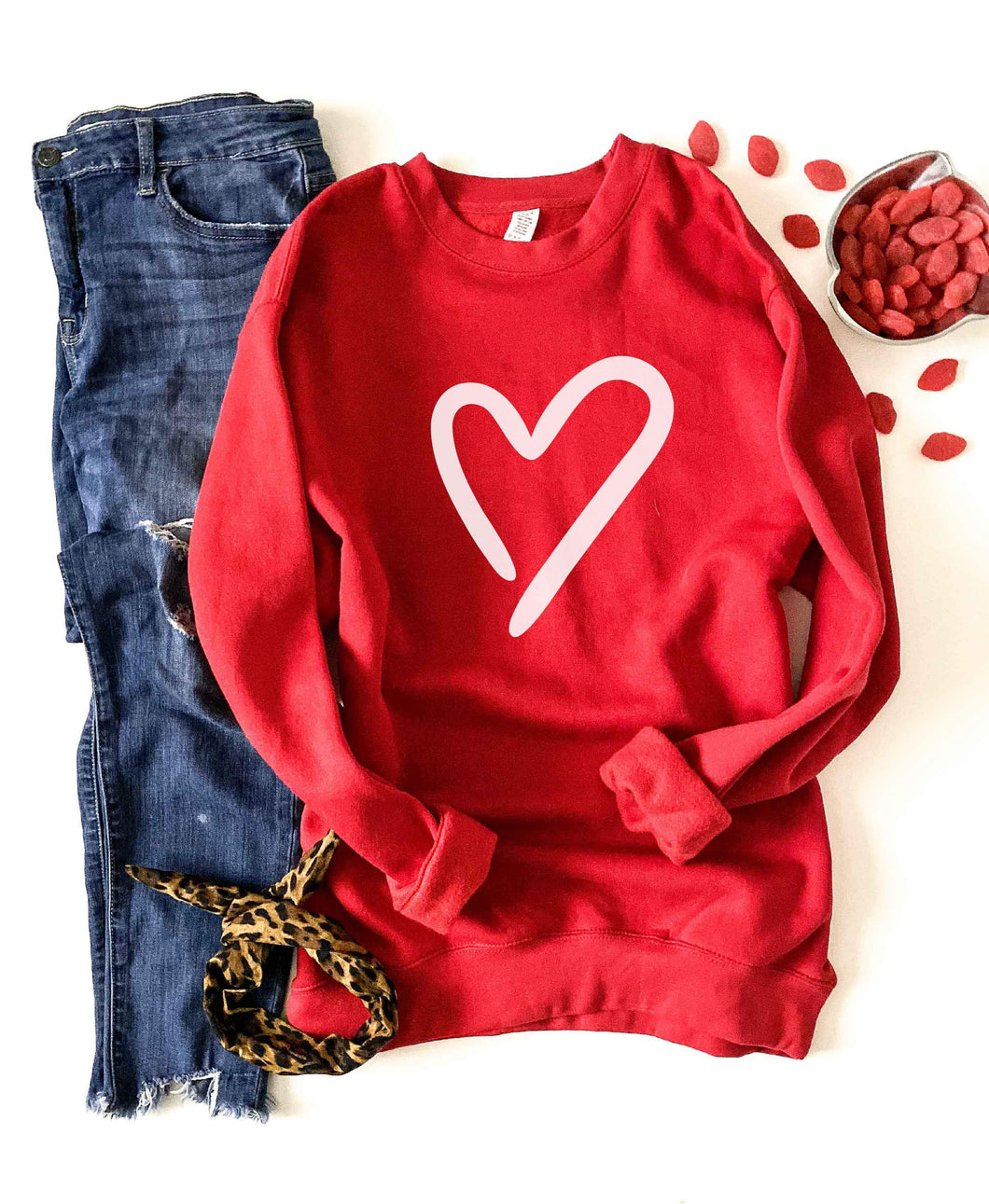 Heart fleece sweatshirt Valentines sweatshirt Independent Trading company lightweight hoodie