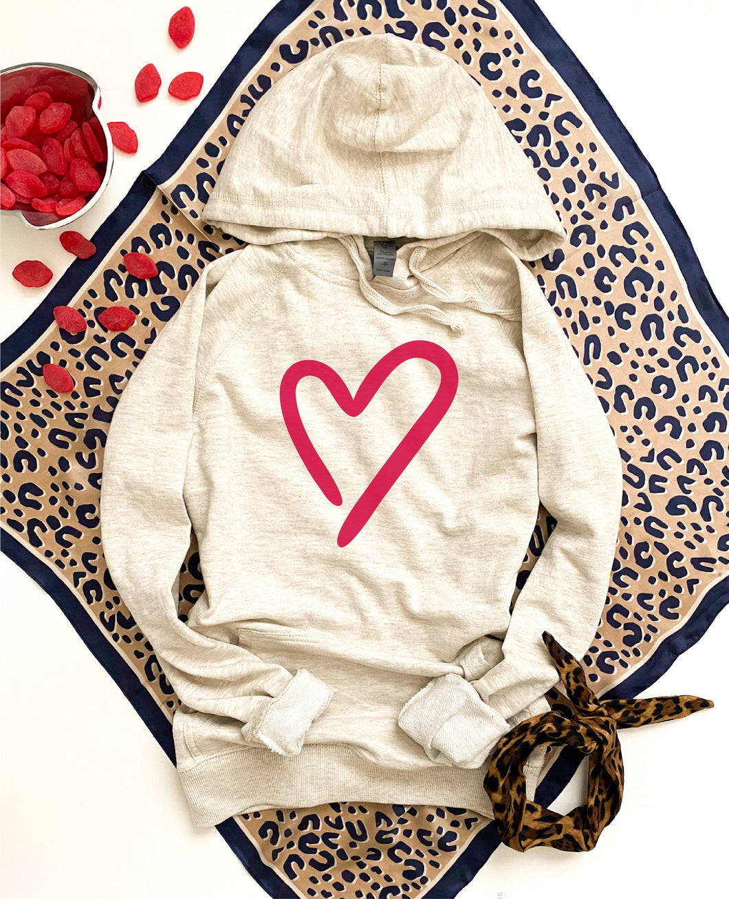 Heart French Terry hoodie Valentines day French Terry hoodie Cotton heritage French Terry hoodie