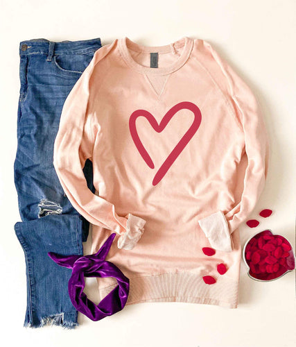 Heart french terry raglan sweatshirt Valentines French Terry raglan Cotton heritage and lane seven French Terry raglan XS Pale pink