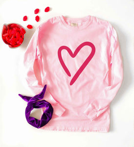 Heart long sleeve tee Long sleeve valentines day tee Comfort colors long sleeve pink blossom