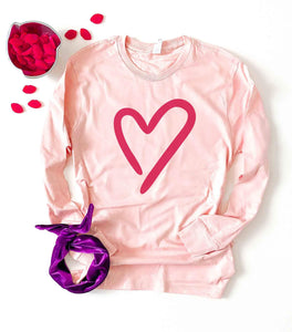 Heart pale pink long sleeve tee Long sleeve valentines day tee Lane seven pale pink long sleeve tee
