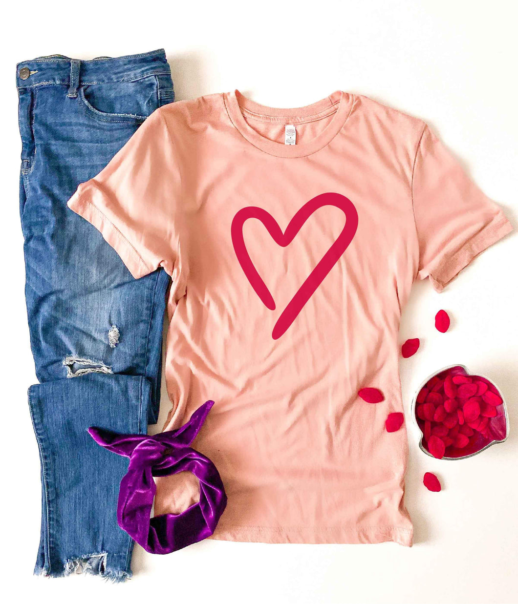 Heart tee Short sleeve valentines day tee Bella canvas 3001 XS Heather peach