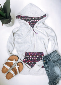 Heather white geometric zip-up hoodie Zip up womens hoodie MV Sport grey multi zip up hoodie