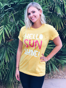 Hello sunshine Short sleeve summer tee Bella canvas 3001 maize yellow