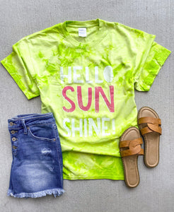 Hello sunshine tie dye tee Tie dye summer tee Port and company tie dye tee