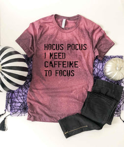 Hocus pocus bleached tee Fall bleached tee Bella canvas 3001 heather maroon bleached