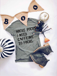 Hocus Pocus I need caffeine to focus- basic tee Short Sleeve halloween tee Anvil 980 S Heather Grey