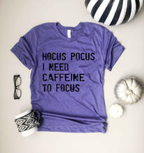 Hocus Pocus I need caffeine to focus- basic tee Short Sleeve halloween tee Anvil 980 S Heather purple