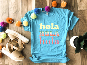 Hola hola hola tee Short sleeve cinco de mayo tee Next level 6210 Cancun blue