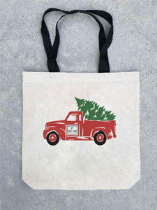 Holiday tote bag- customizable! Tote bag Costa Threads Christmas truck tote bag