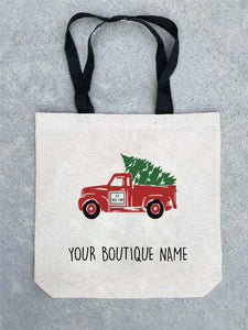 Holiday tote bag- customizable! Tote bag Costa Threads Christmas truck tote bag w/boutique name