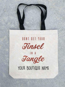 Holiday tote bag- customizable! Tote bag Costa Threads Tinsel in a tangle tote bag w/boutique name