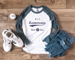 Homerun kind of day baseball tee 3/4 sleeve baseball tee Next level 6051 heather white/indigo