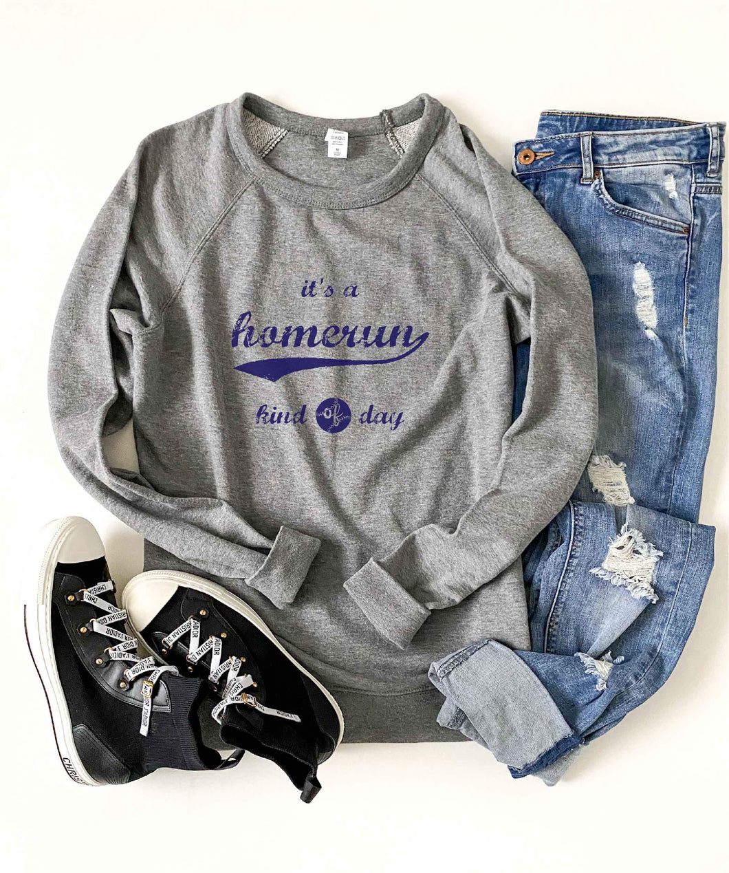 Homerun kind of day french terry raglan sweatshirt Baseball french Terry raglan Lane seven French Terry raglan