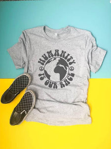 Humanity is our race kids tee Kids Short sleeve tee Next Level 3310 kids tee XS Heather grey