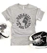 Humanity is our race tee Short sleeve inspirational tee Bella Canvas 3001 XS Athletic heather grey