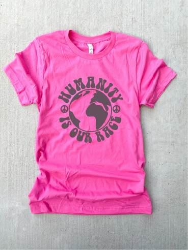 Humanity is our race tee Short sleeve inspirational tee Bella Canvas 3001 XS Charity pink