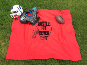 Hustle hit never quit colored stadium blanket Football stadium blanket Port and company bp78 blanket