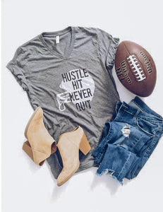 Hustle hit never quit helmet tee Short sleeve football tee Bella Canvas 3005 deep heather