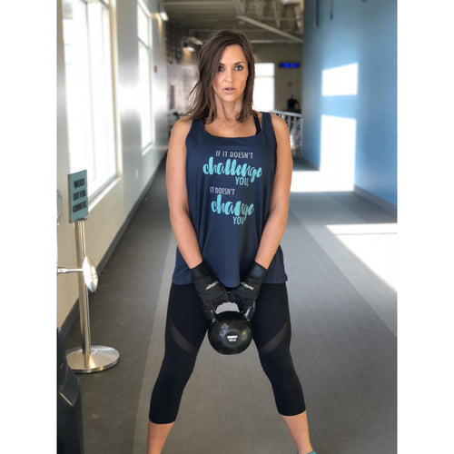 If it doesn't challenge you- women's flowy tank Fitness tank Bella Canvas tank navy